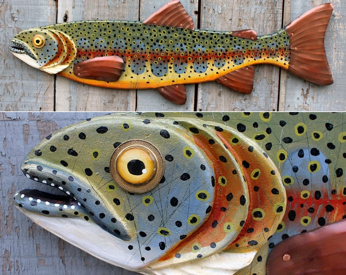 Large Cutthroat Trout Colorful Fish Wall Sculpture 37""