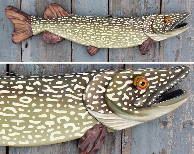 "Lawrence Pike! Fish Wall Art, 33"" Northern Pike, Wood and Metal Fish Wall Sculpture, Lodge decor, Folk Art Fish, made in VT, unique gift"