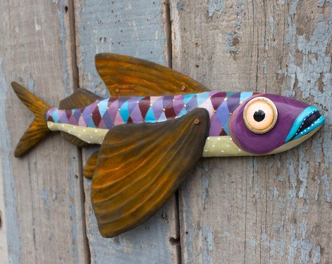 "Flying Fish Folk Art Wall Sculpture, Lola 20"""