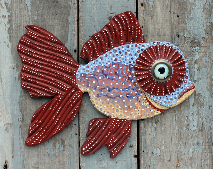 "Prudence, 20"" Colorful Folk Art Fish Wall Art, FUN, Carved Wood Hand-Painted Collectable, handcrafted in Vermont, Repurposed Art,Unique Gift"