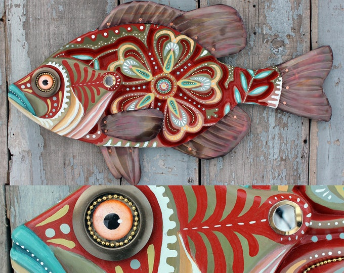 "Carved Wood Folk Art Fish Wall Art 27"""