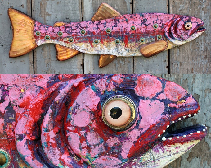"Rizzo 37"", Large Colorful Folk Art Fish Wall Sculpture, Original Encaustic Art Collectible, Handcrafted in Vermont,Unique Art,Seed Beads Wax"