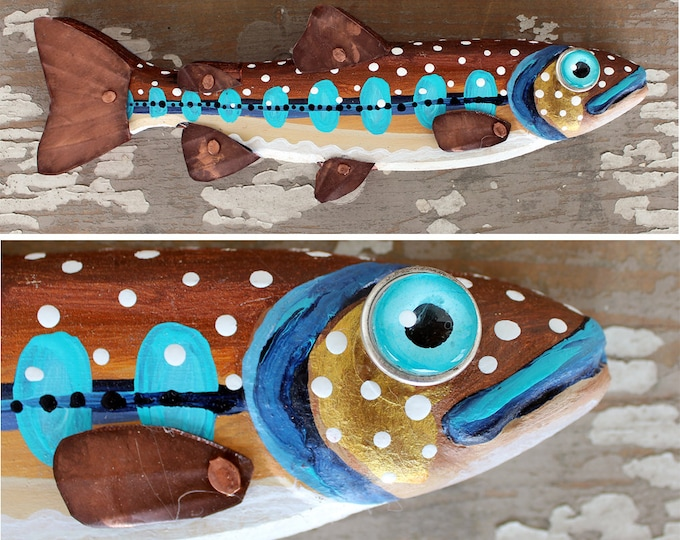 """Fun Folk Art Trout Wall Art 10"""""""