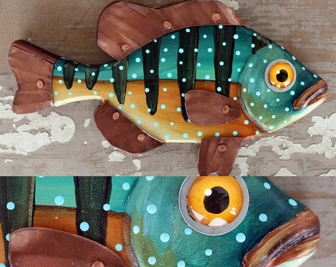 """CeCe 10"""", Sunfish Minnow, Happy Hand-Painted Wood Fish Wall Art,Copper Fins, Colorful Folk Art, Made in Vermont, Fish Sculpture, Unique Gift"""