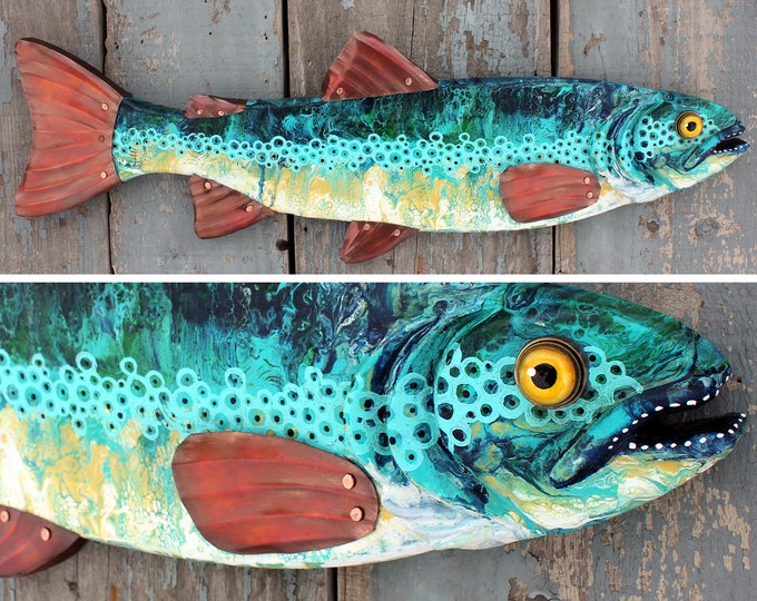 Colorful Trout Fish Wall Sculpture 26""