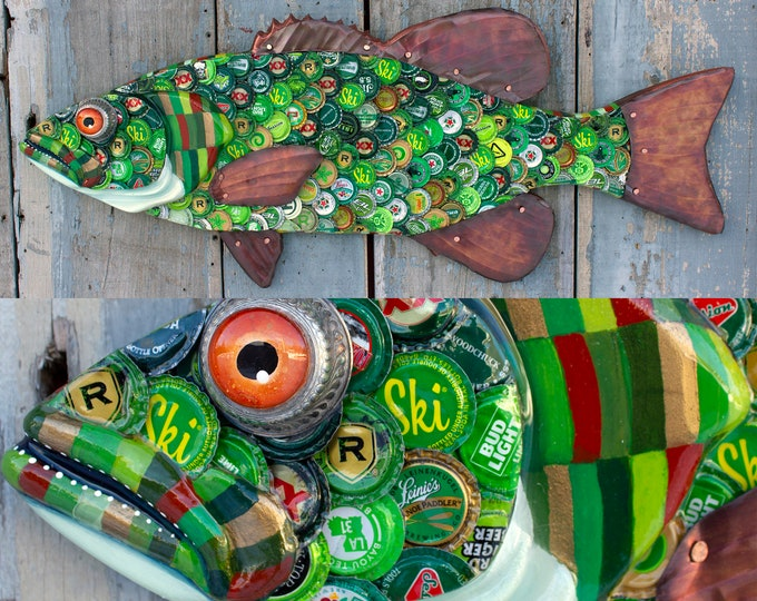 Bass Original Wall Sculpture Bottle cap Art 33""