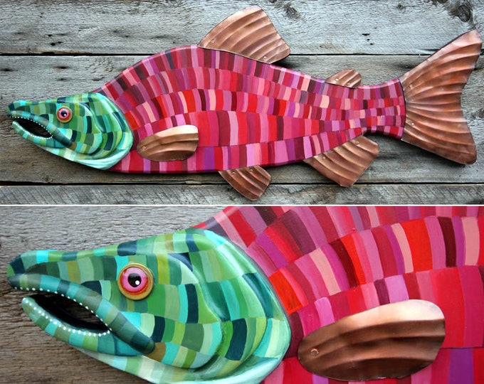 "36"" Salmon Wall Sculpture, Sockeye Wood and metal fish art, Lodge decor, colorful folk art fish, handcrafted in Vermont, unique angler gift"