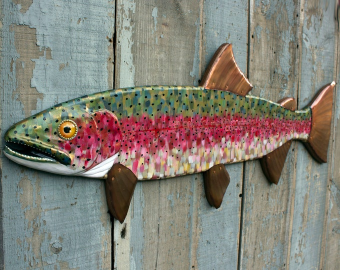 "42"" Rainbow Trout Fly Fishing Art, Hand Painted Carved Wood Wall Art, Hammered Copper Fins"