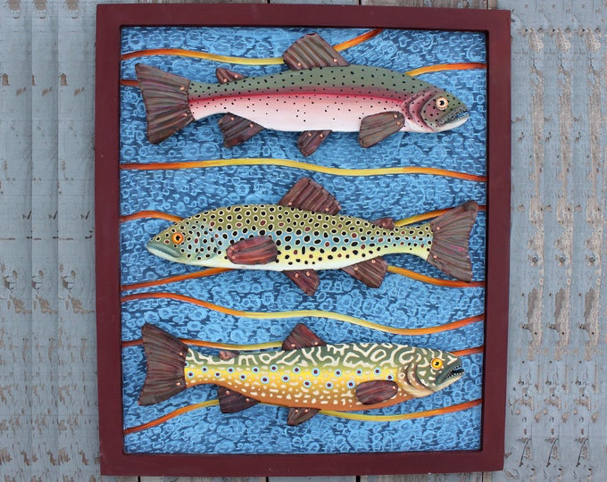 "Trio of Trout 25""x 30"" Framed Trout Wall Art,  Colorful Folk Art Fish, Handcrafted in Vermont, Fly Fishing, Lodge/Cabin Decor, Wood fish art"