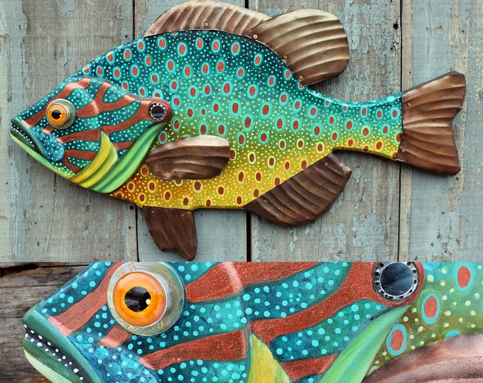 "27"" Sunfish , Pumpkinseed Fish wall art, Lodge decor, wood fish sculpture, colorful folk art fish, handcrafted in Vermont, unique gift wood"