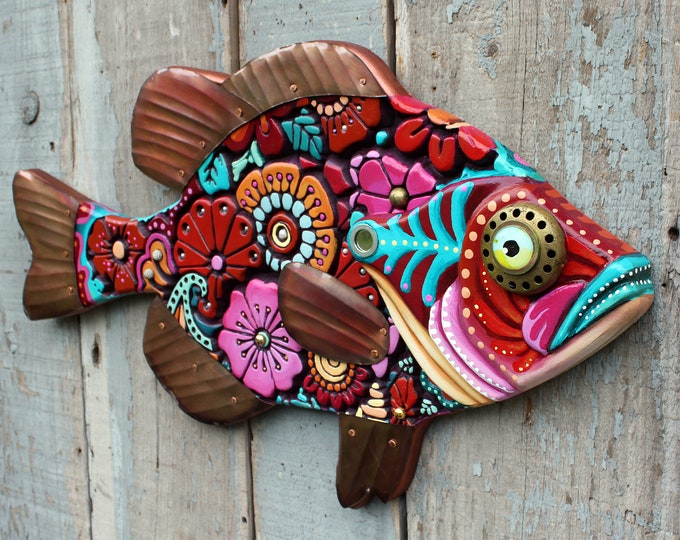 Colorful Floral Sunfish Wall Art 27""