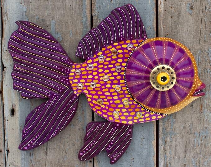 "Iris, Purple Big Eye Goldfish Colorful Folk Art Fish Wall Sculpture 21"""