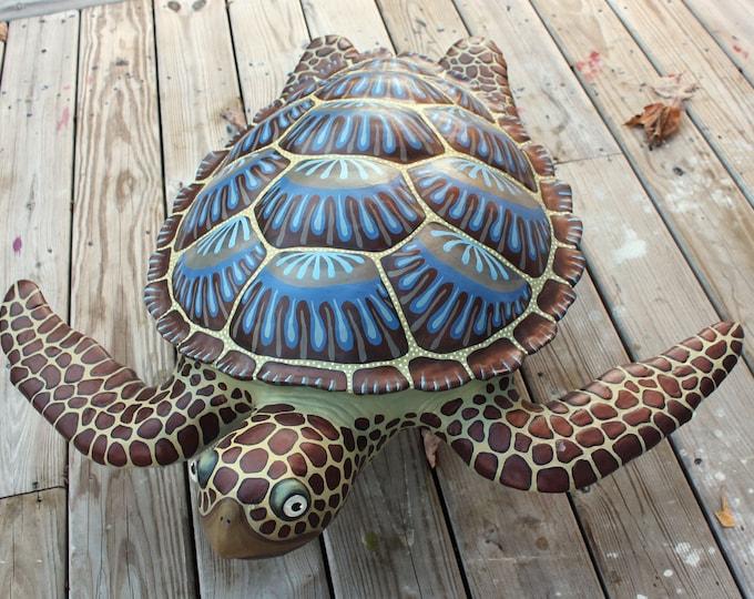 "Sea Turtle Wall Sculpture Original Artwork 24"""