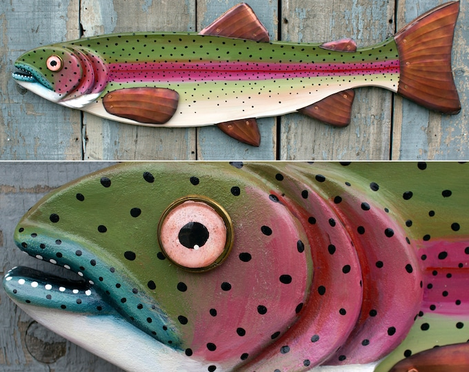 Rainbow Trout, Folk Art  Fish Wall Art 37""