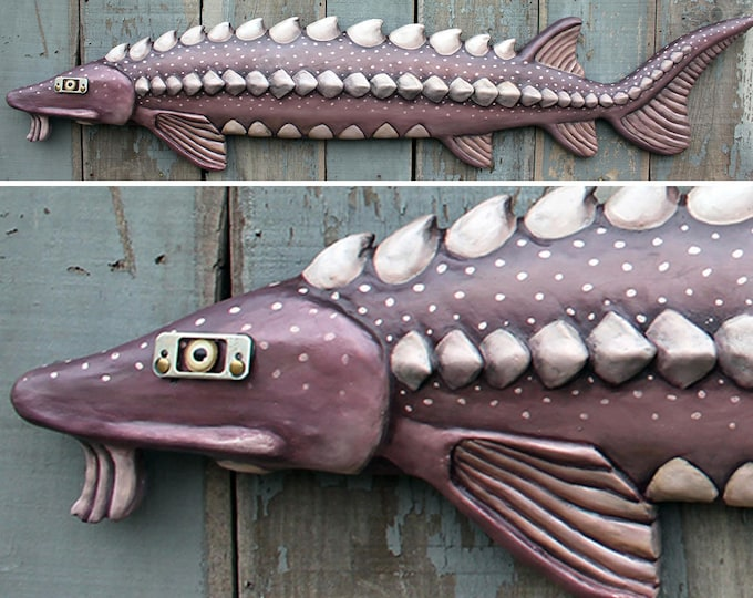 """58"""" Sturgeon,Large fish wall sculpture, wall art, Prehistoric Fish, Fun Folk Art, wood/clay fish sculpture, handcrafted in Vermont, unique g"""
