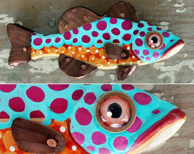 """Tara, 10"""" Bass Minnow, Fun Carved Hand-Painted Wood Fish Wall Art,Copper Fins, Happy Colorful Folk Art,Made in Vermont,Fish Sculpture,Unique"""
