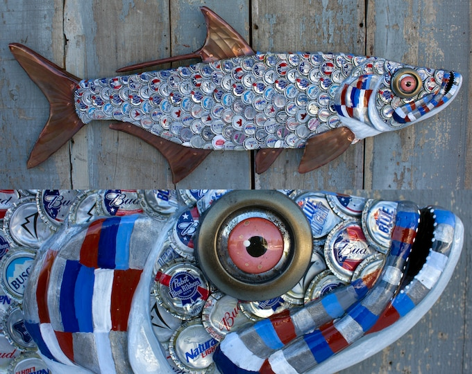 Tarpon Fish Wall Sculpture Bottlecap Art 38""