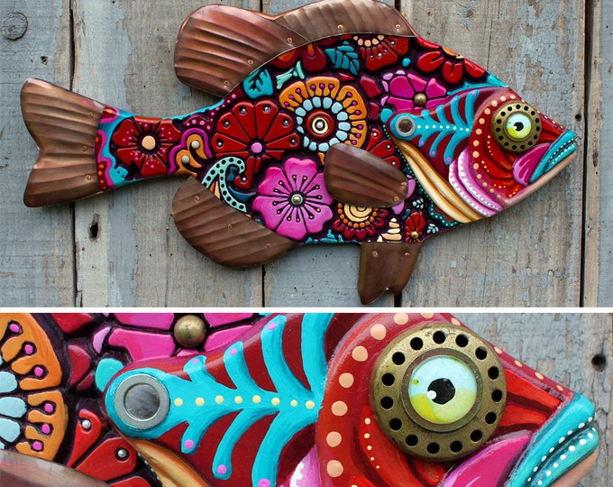 """Colorful Floral Sunfish Wall Art 27"""""""
