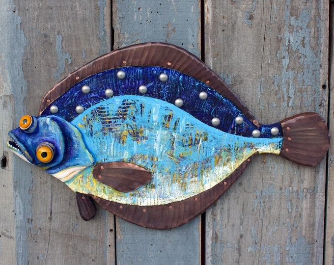 Wendy, Colorful Wood and Metal Flounder Fish Wall Art 24""