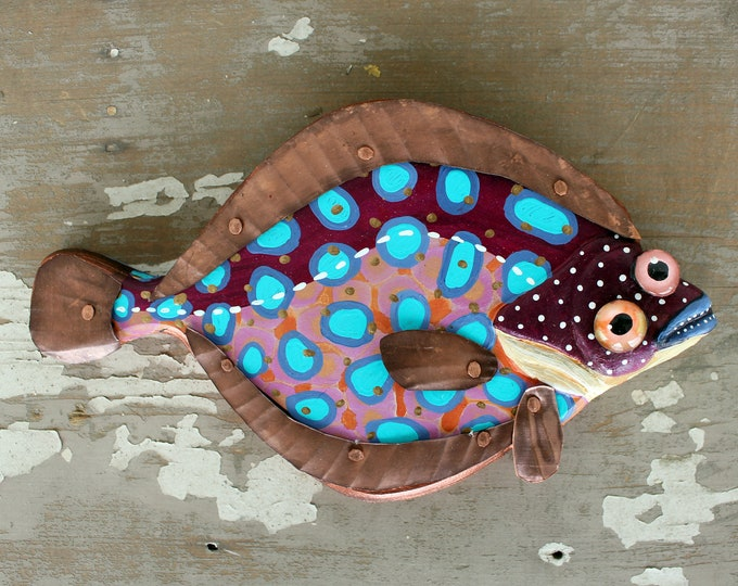 Colorful Flounder Fish Wall Art 11'