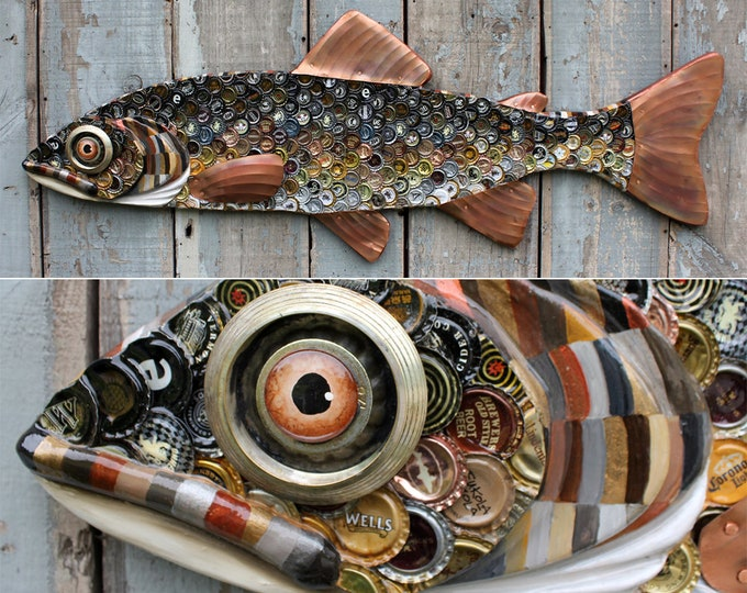 "Randy 51"" Bottlecap Trout, Large Folk Art Fish Wall Art, Bar Art, wood fish sculpture, Made in Vermont, unique gift, Recycled Art ,mancave"