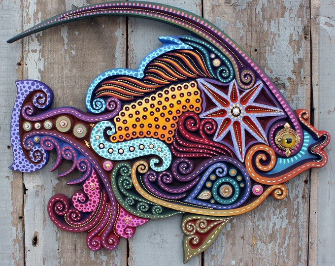 Whimsical Carved Angelfish Wall Sculpture 30""