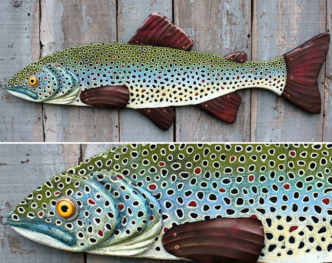 "40"" Encaustic Brown Trout, Large Fish wall art, Lodge decor, wood fish, colorful folk art fish, handcrafted in Vermont, beeswax paint!"