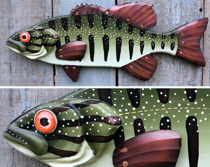 Bass Wood and Copper Fish Wall Art, 21""