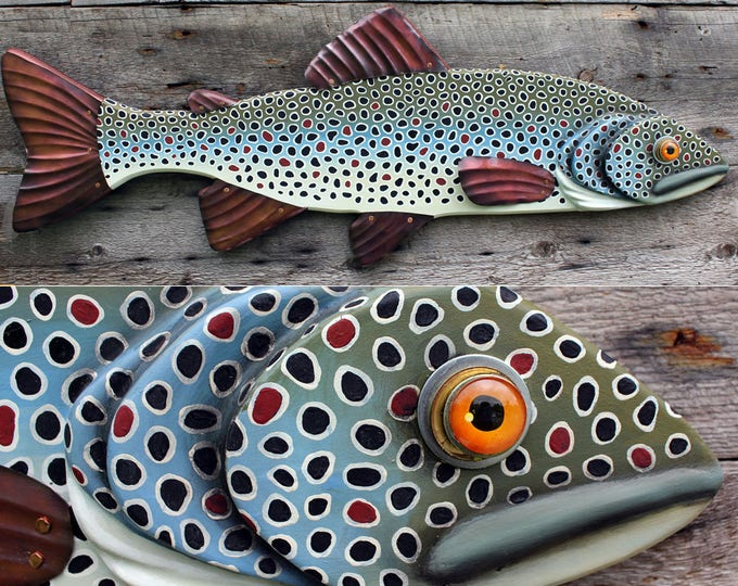 Brown Trout Wood and Copper Wall Sculpture 26""