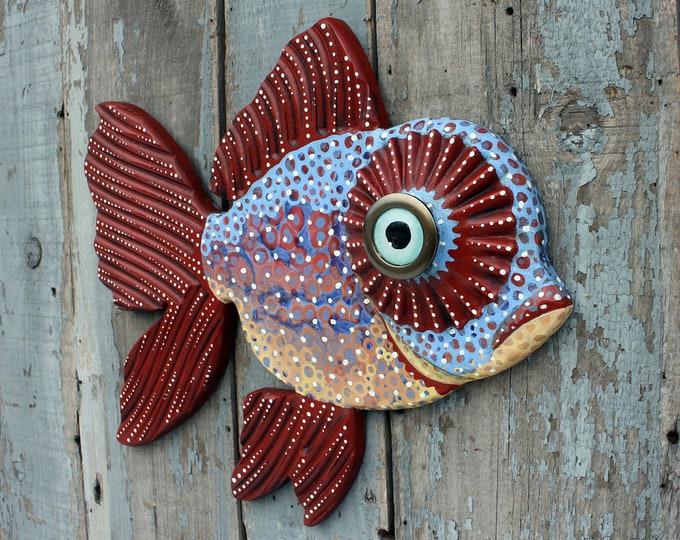 "Colorful Big Eye Goldfish Wall Sculpture 20"""