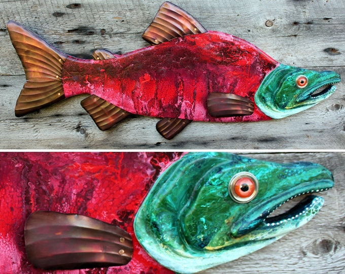 "37"" Sockeye Salmon Wood and Metal Fish Sculpture,Salmon Wall Art,,Lodge Decor, colorful folk art fish, handcrafted in Vermont,unique gift"