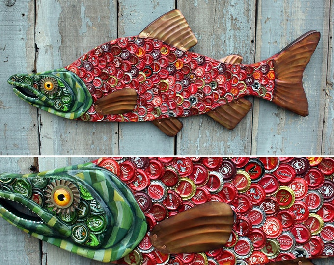 "38"" Bottlecap Salmon, Large fish wall art, Bar Art, wood fish sculpture, handcrafted in Vermont, unique gift, Recycled Art , Bottlecap Art"