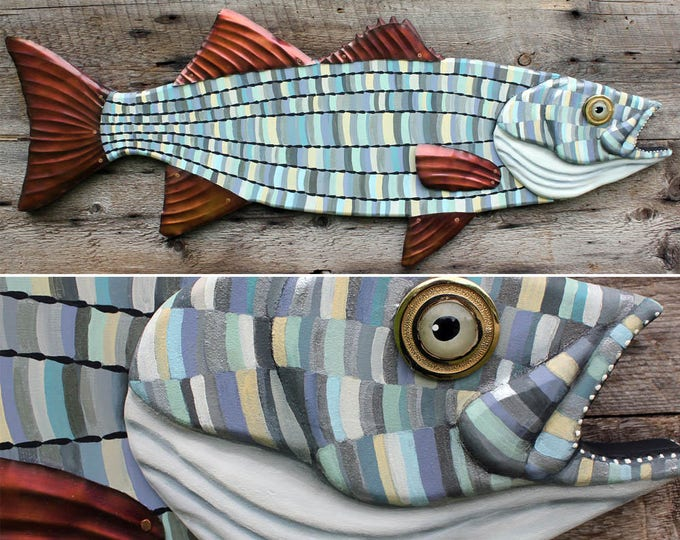 """30"""" Striped Bass Wall Sculpture, Wood and metal fish art, Beach house decor, colorful folk art fish, handcrafted in Vermont, unique gift"""