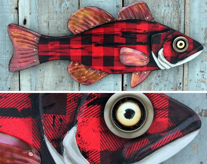 "30"" Lumberjack Bass, Buffalo Plaid, Large Fish wall art, Adirondack Lodge decor, fun folk art fish, made in Vermont, wood metal fish art"