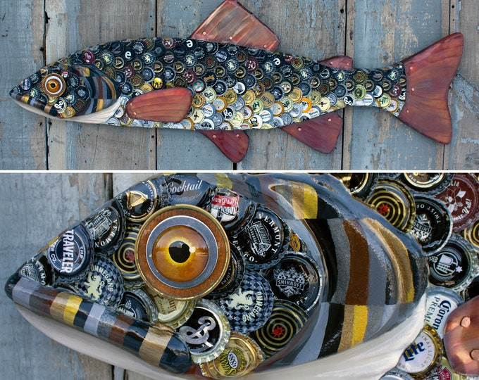 Bottle cap Trout Large Fish Wall Sculpture Original Art 39""