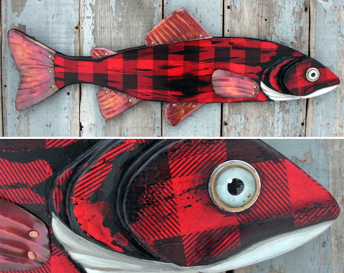 "38"" Lumberjack Trout, Buffalo Plaid, Large Fish wall art, Adirondack Lodge decor, fun folk art fish, made in Vermont, wood metal fish art"