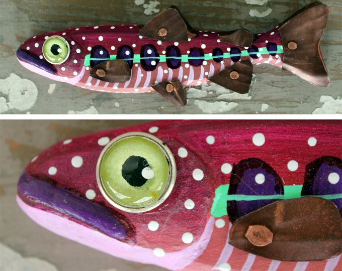 """Crystal, 8"""" Trout Minnow, Fun Hand-Painted Wood Fish Wall Art, Copper Fins, Colorful Folk Art, Made in Vermont, Fish Sculpture, Unique Gift"""