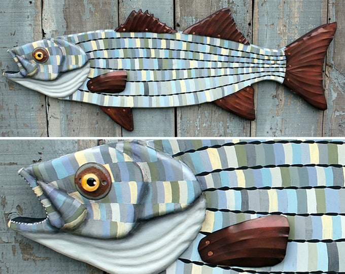 Large Striped Bass Wood and Copper Wall Sculpture 42""