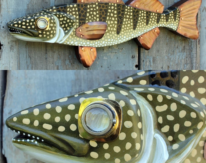 "30"" Walleye Pike Fish Decor - Hand Painted Wood Carved Wall Sculpture - Perfect for Lake House Decor"