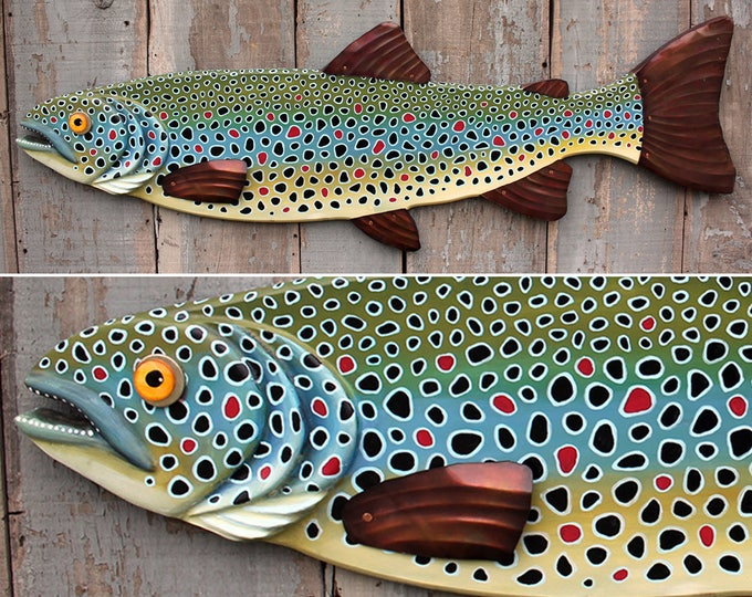 "47"" Brown Trout, Large Fish wall art, Lodge decor, wood fish sculpture, colorful folk art fish, handcrafted in Vermont, unique gift wood"