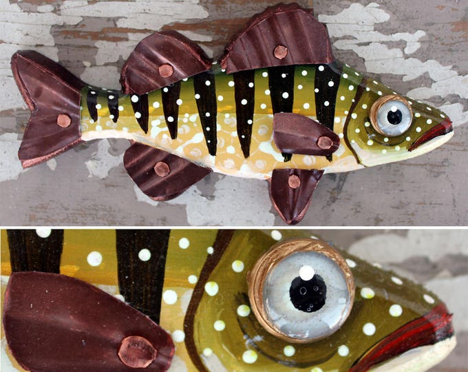 """Paulette, 8"""" Carved Wood Perch, wood and copper fish magnet or wall art, colorful folk art, made in Vermont, fish sculpture, unique gift"""