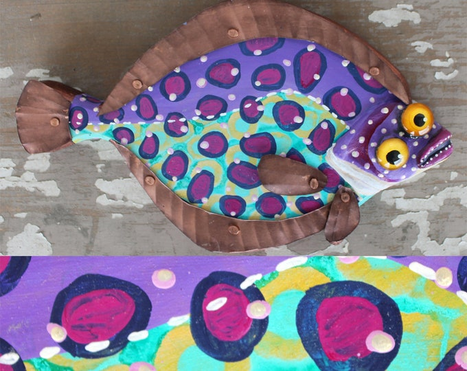 "Fiona, 11"" Flounder Minnow, Fun Hand-Painted Wood Fish Wall Art,Copper Fins, Colorful Folk Art, Made in Vermont, Fish Sculpture, Unique Gift"