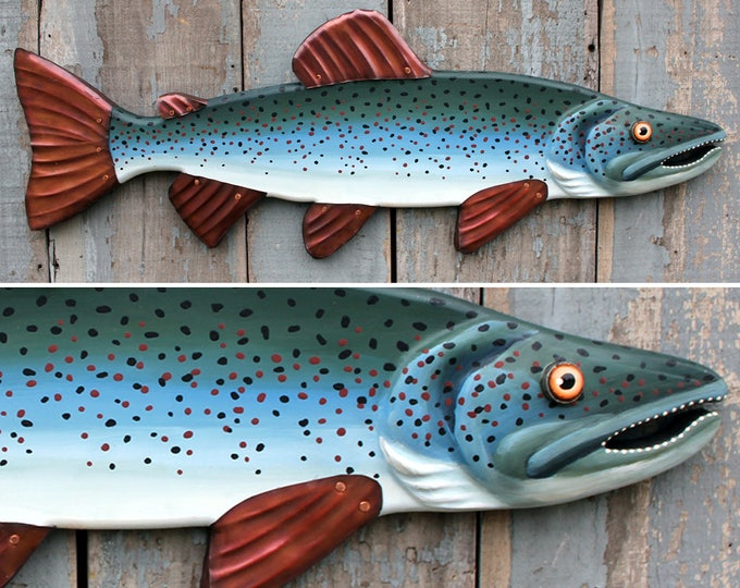 "32"" Atlantic Salmon wall art, Lodge decor, colorful folk art fish, Salmon Fish Sculpture,handcrafted in Vermont, flyfishing, unique gift"