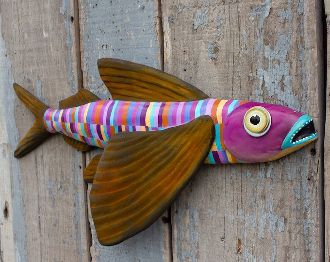 "Winnie, 23"" Flying Fish Folk Art Wall Sculpture"