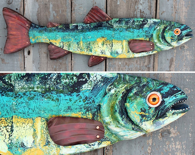 Large Colorful Trout Fish Wall Art 37""