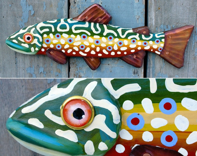 "Craig, 16"" Brook Trout, Carved Folk Art Fish Wall Art"