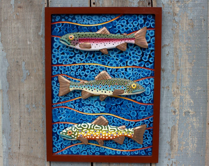 "Large Framed Trout Mixed Media Folk Art Wall Sculpture 30"" x 25"""