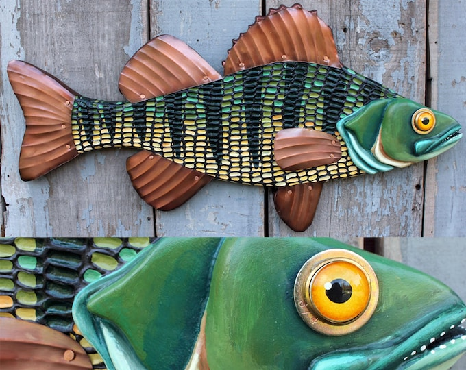"23"" Mosaic Perch wall art,  Fish Wall Art,Lodge decor, wood fish sculpture, colorful folk art fish, handcrafted in Vermont, unique gift wood"