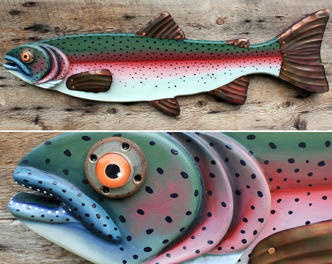 "37"" Rainbow Trout Wall Hanging. Hand Painted on Wood with Hammered Copper Fins - Great for Farmhouse or Lake House Decor"