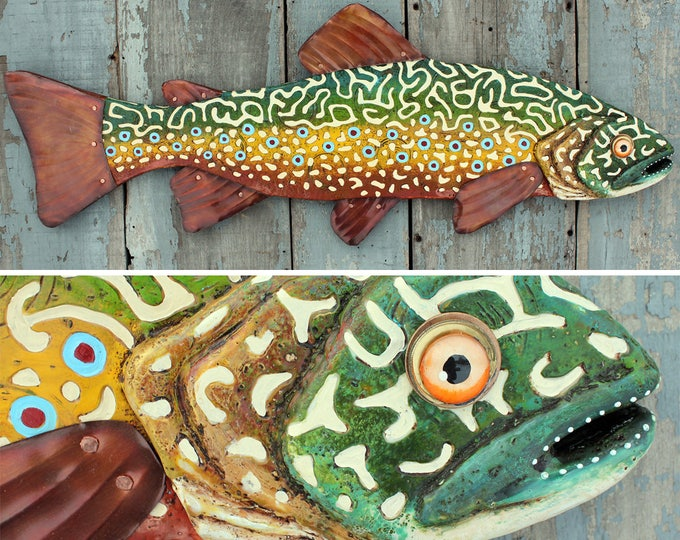 "37""Brook Trout Wall Art, Trout Wood and Metal Fish Wall Sculpture, Encaustic Art, Folk Art Fish, handcrafted in Vermont"